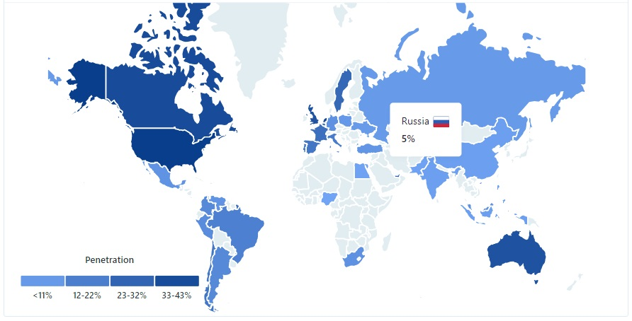 LinkedIn country-by-country audience visualized